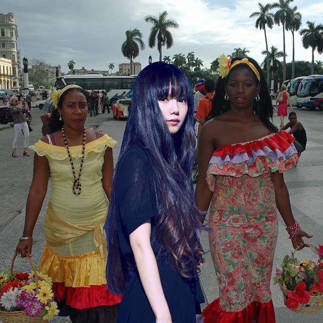 Кубинки (слева и справа) и японка (в центре) в Гаване (исп. La Habana, кана ハバナ) на Кубе (исп. Cuba, кана キューバ) [фотоколлаж]