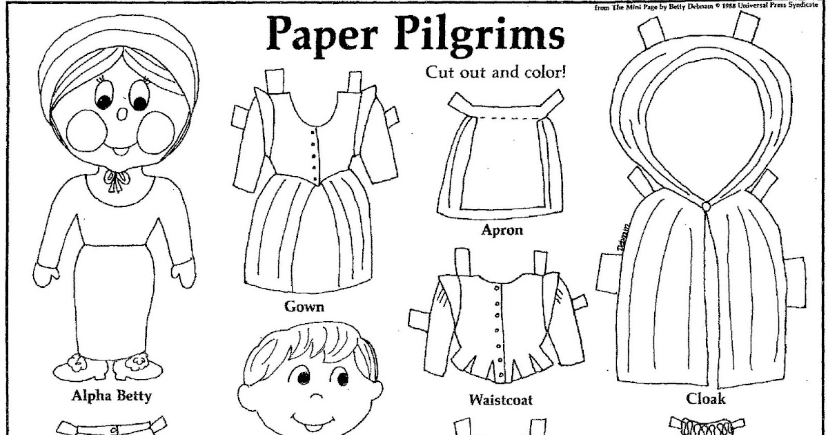 Mostly Paper Dolls: PAPER PILGRIMS to Cut Out and Color! 1988