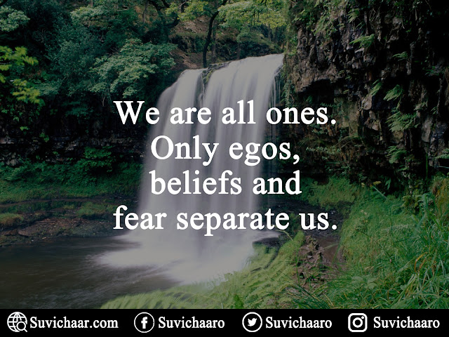 We Are All Ones. Only Egos, Beliefs And Fear Separate Us.