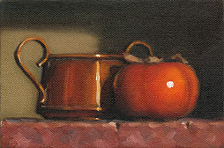 Still life oil painting of a persimmon beside a small double-handled copper pot.