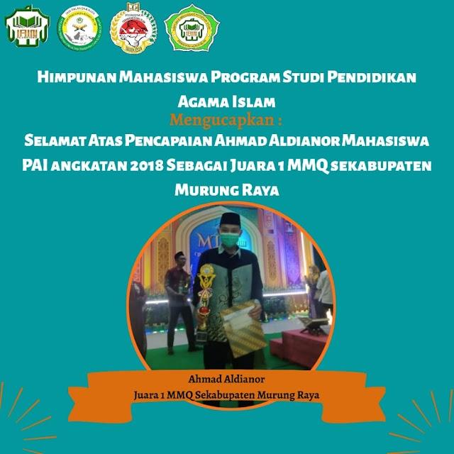 Ahmad Aldianor, Mahasiswa PAI Raih Juara 1 MMQ Sekabupaten Murung Raya