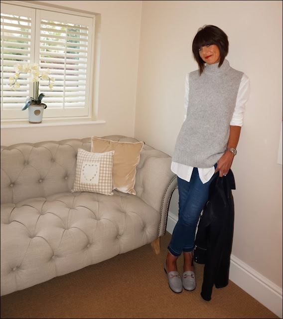 My Midlife Fashion, John lewis modern rarity knitted tunic, river island soft leather loafers, marks and spencer long line white shirt, boden cut off skinny jeans, massimo dutti leather biker jacket