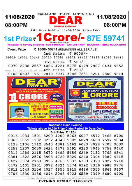 Lottery Sambad 11-08-2020 Nagaland State Lottery Result 08.00 PM