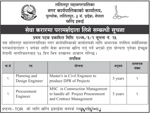 Vacancy Announcement from Lalitpur Metropolitan City