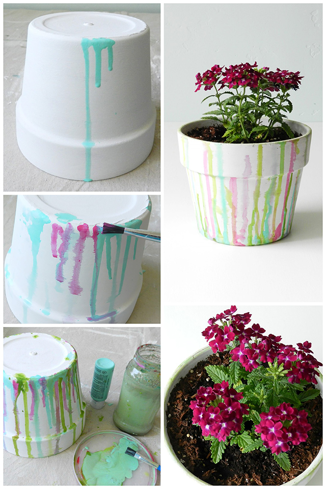 Dripped Watercolor Terracotta Pot Tutorial