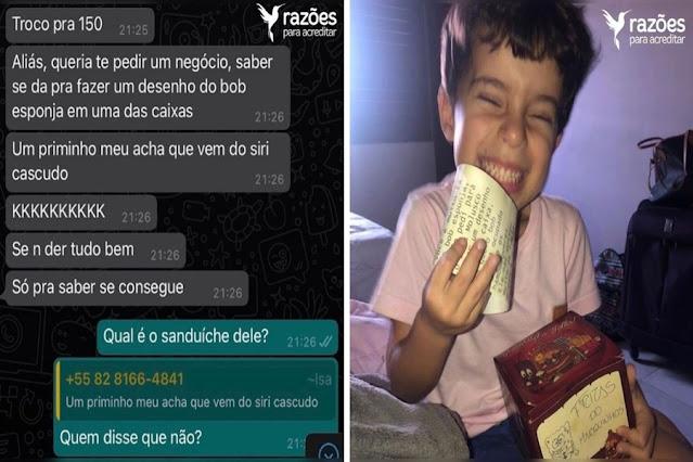 Hamburgueria faz pedido personalizado para menino que é fã do Bob Esponja: 'Direto do Siri Cascudo'