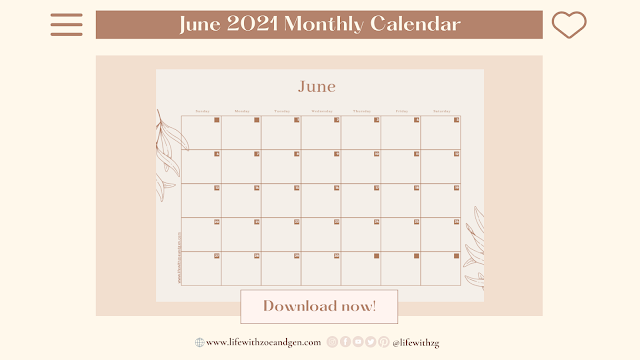 Free Minimalist June 2021 Monthly Calendar Printable  for digital journaling by Life with ZG. l Gen Roraldo