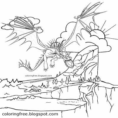 Sky view prehistoric being reptile lizard dinosaur flying dragon coloring pages ideas for children
