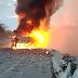 Carreta carregada de inseticida pega fogo após tombar e deixa uma vítima fatal na BR-381