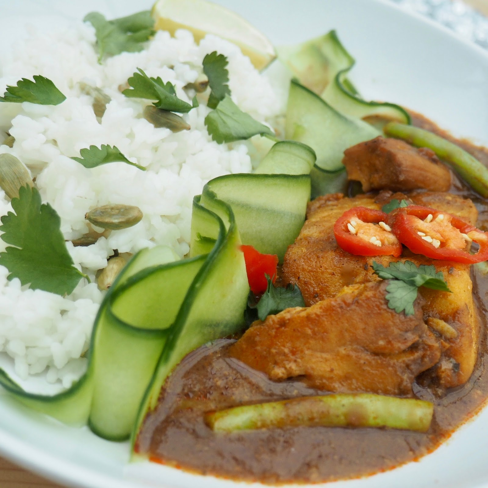 Cod Curry with Cardamom Rice and a Cucumber, Mint and Lime Salad.