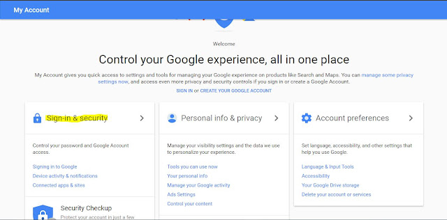 Google Account Setting View