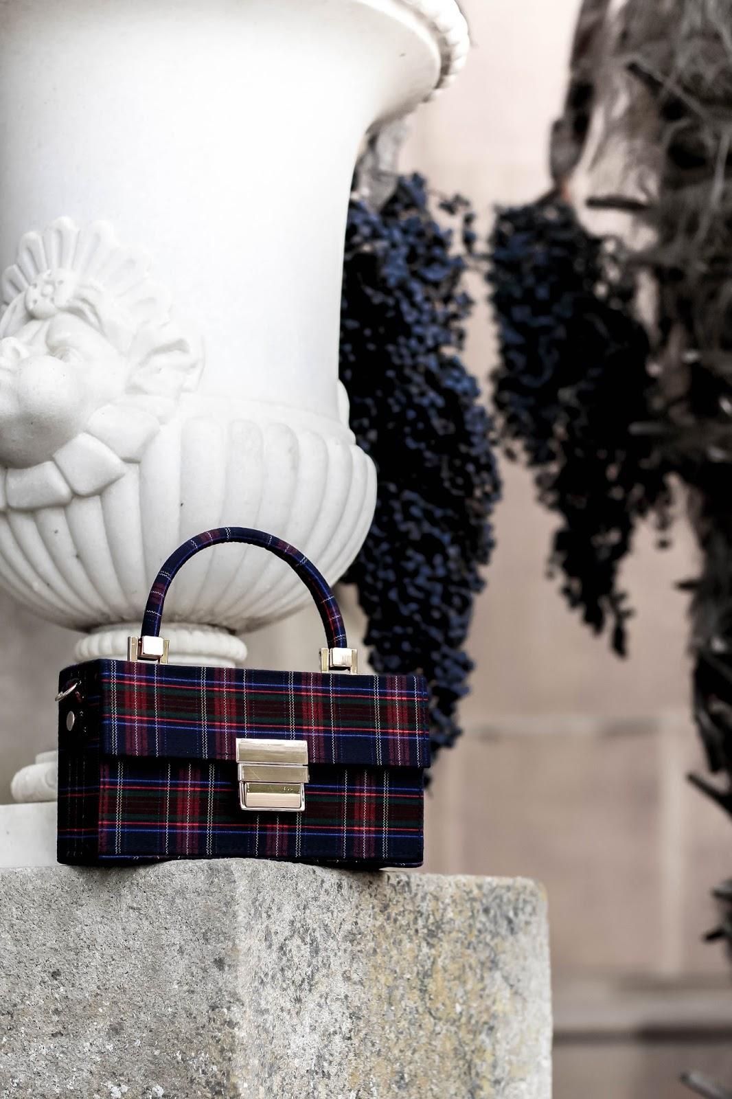 Zara Rigid Printed Minaudière Bag Tartan