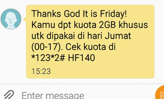 SMS NOTIIKASI : Tanda bukti SMS notifikasi dari TRI berupa bonus kuota 2 GB khusus dipakai pada hari jumat. Ini yang (lagi) akan saya buktikan. Foto dari Internet
