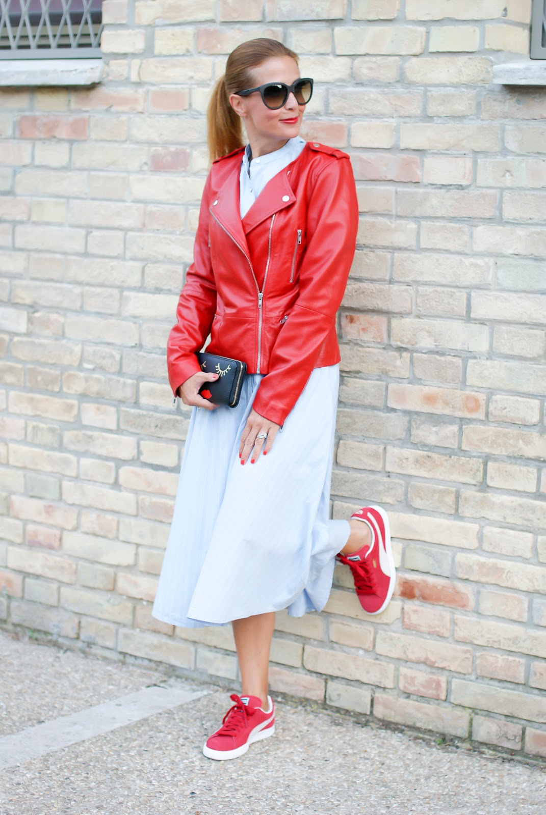 1.2.3 Paris red leather biker jacket and Puma suede classic sneakers on Fashion and Cookies fashion blog, fashion blogger style