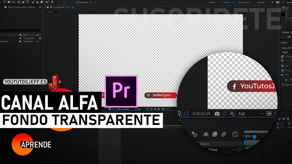Como Renderizar con Alpha Channel en After Effects, Exportar en Canal Alfa