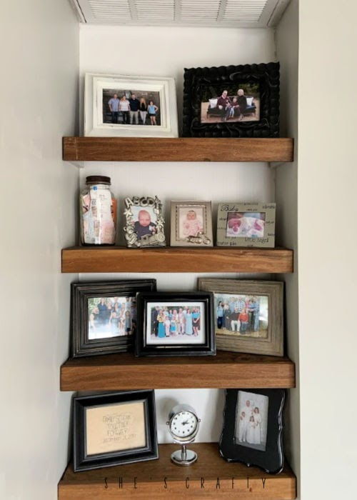 simple built in shelves, shelf ideas, wood shelves