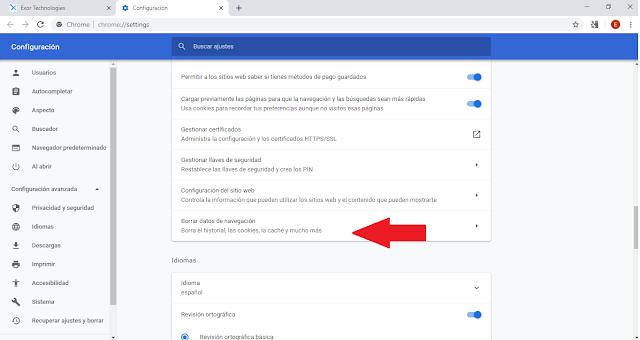 paso 4 para borrar el historial de busqueda en google chrome