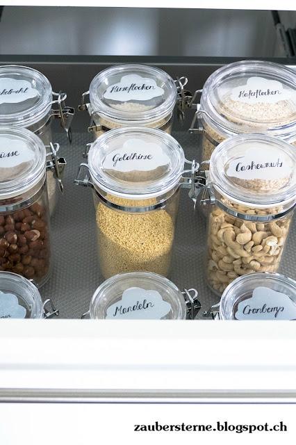 DIY ablösbare Etiketten, Wolkenetiketten, Küchenorganisation