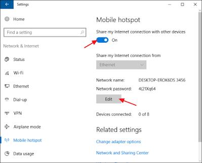 بث الانترنت من اللابتوب ويندوز 10, كيفية عمل شبكة بين جهازين ويندوز 10, طريقة ربط جهازين عن طريق الوايرلس ويندوز 10, برنامج تحويل اللابتوب الى راوتر وايرلس ويندوز 10, انشاء شبكة لاسلكية ويندوز 10