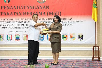 MoU ini merupakan kesepakatan bersama tentang Penanganan Masalah Hukum Bidang Perdata dan Tata Usaha Negara Pada Wilayah Hukum Provinsi Lampung.