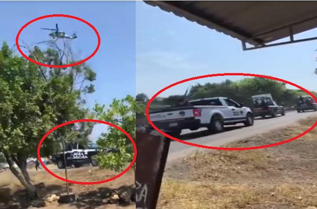 """Video: Así fue la captura de """"El Mini Gordo"""" líder de Los Viagras Guardia Nacional y Estatales con ayuda de Helicóptero artillado se enfrentan a Sicarios que intentaron impedirlo en Buenavista, Michoacán"""