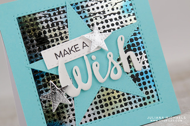 Make A Wish Card by Juliana Michaels featuring Therm O Web Deco Foil and Transfer Gel