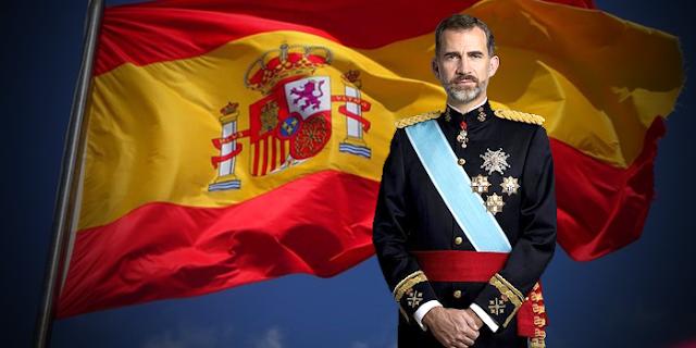 Bandera de España y Felipe VI
