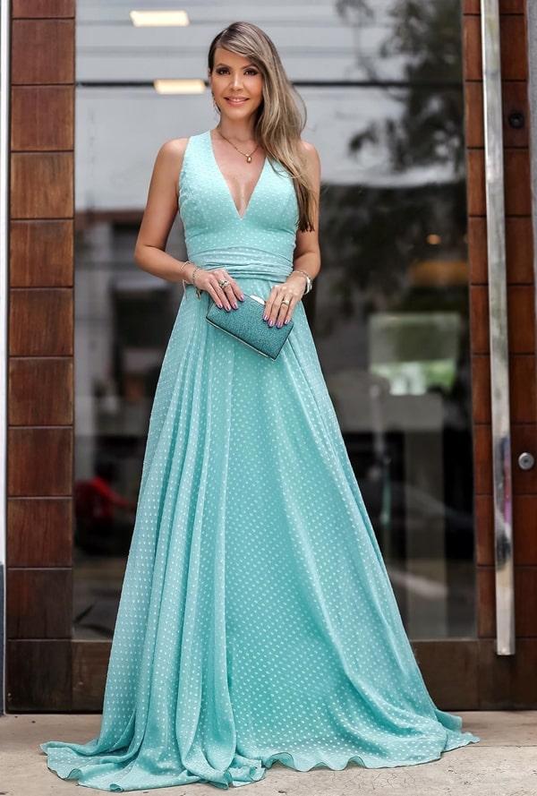 vestido de festa longo verde com estampa de bolinhas poás