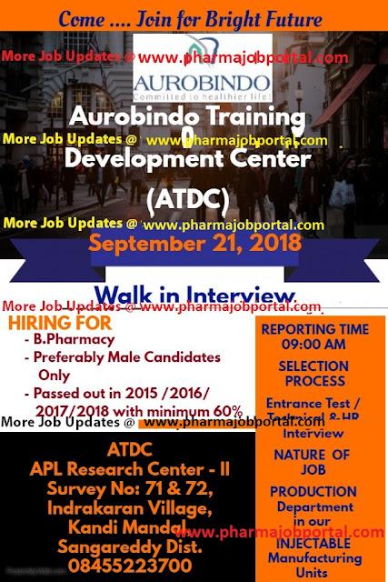 AUROBINDO PHARMA LTD Walk In Interview For B.Pharma Freshers at 21 Sep