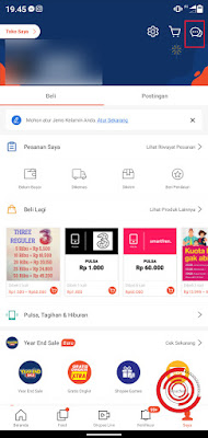 1. Silakan kalian buka aplikasi Shopee lalu pilih menu Chat