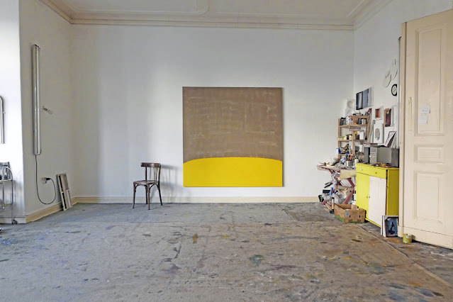 """Michel Carmantrand The wheat field, 185x185cm (72.8x72.8""""), lacquer paint on linen glued on canvas."""