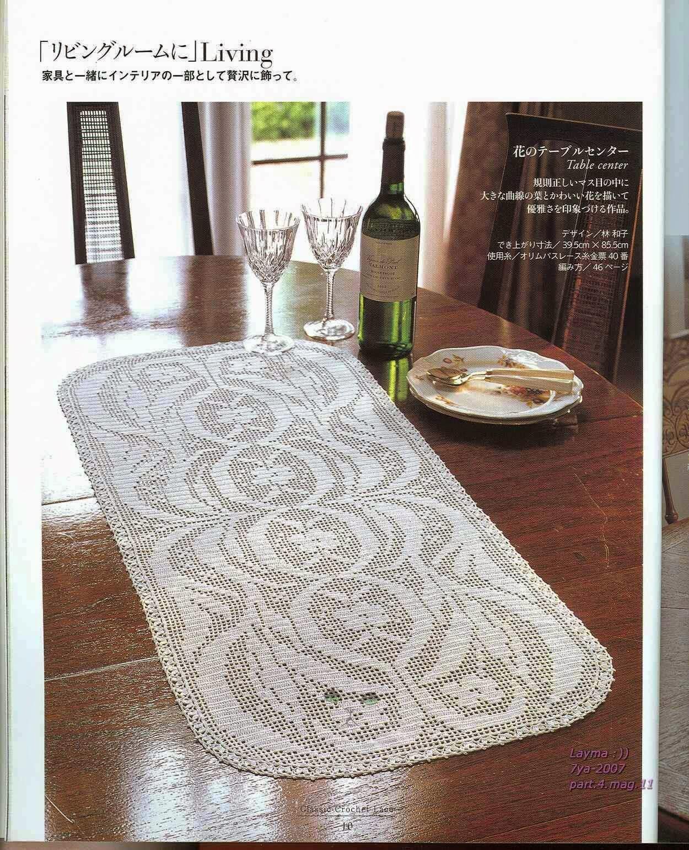 PATRONES GRATIS DE CROCHET: Patrón bonito y elegante camino de mesa ...