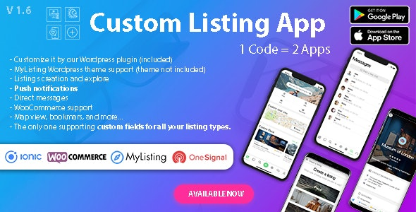 Custom Listing App v1.6.2 - Directory Android and iOS mobile app with Ionic 5 for MyListing ListingPro