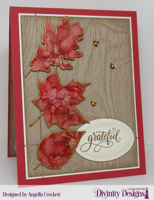Divinity Designs LLC: Wood Background, Hello Friend Stamp/Die Duos, Custom Dies: Stitched Leaves, Double Stitched Ovals, Double Stitched Rectangles; Card Designer Angie Crockett