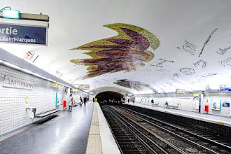 """Paris : Mosaïque de la station Cluny-la-Sorbonne, """"Ailes et flammes"""" oeuvre de l'artiste Jean Bazaine au titre poétique - Vème"""