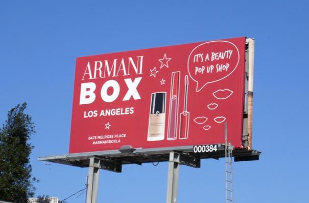 Armani Box LA po up shop billboard