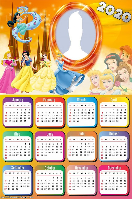 Disney Princess: Free Printable 2020 Calendar