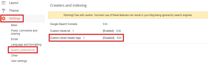 Blogger Ke लिए Custom Robots Header Tags कैसे Enable करें?