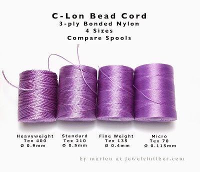 C-Lon Bead Cord - Comparing Sizes