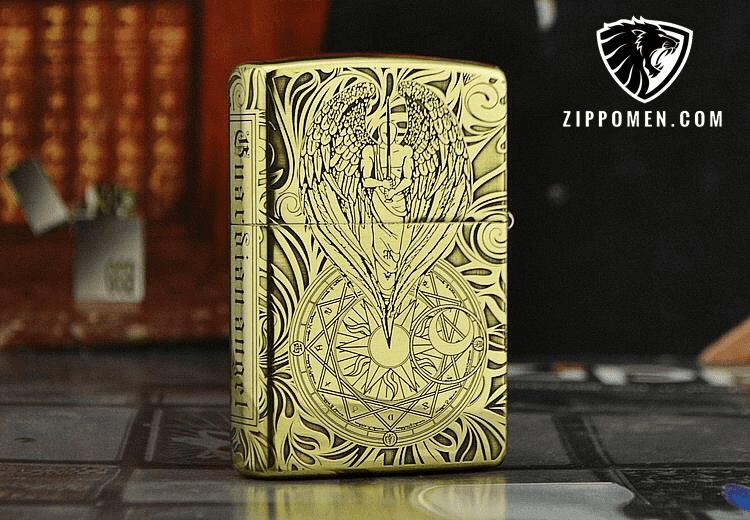 Zippo Khắc Thiên Thần May Mắn | Zippo Tại Hà Nội | Zippo Cổ | Zippo Men