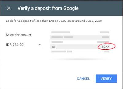 verifikasi rekening bank dari google adsense - masukkan verifikasi nominal adsense