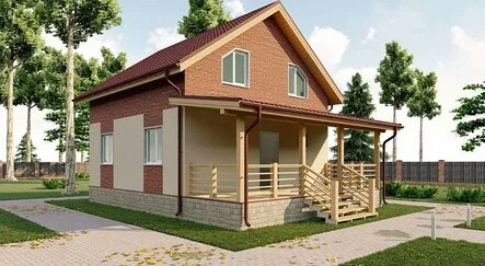 A beautiful compact house made of SIP panels with one floor and an attic