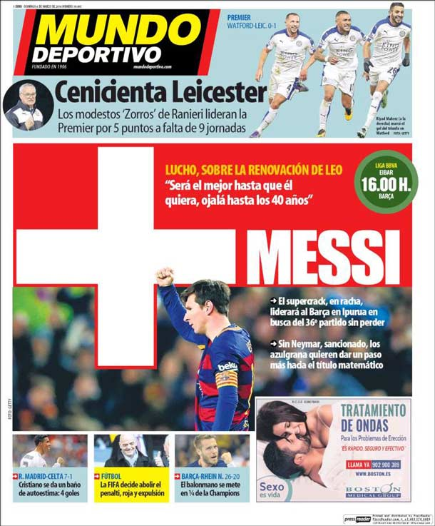Portada del periódico Mundo Deportivo, domingo 6 de marzo de 2016