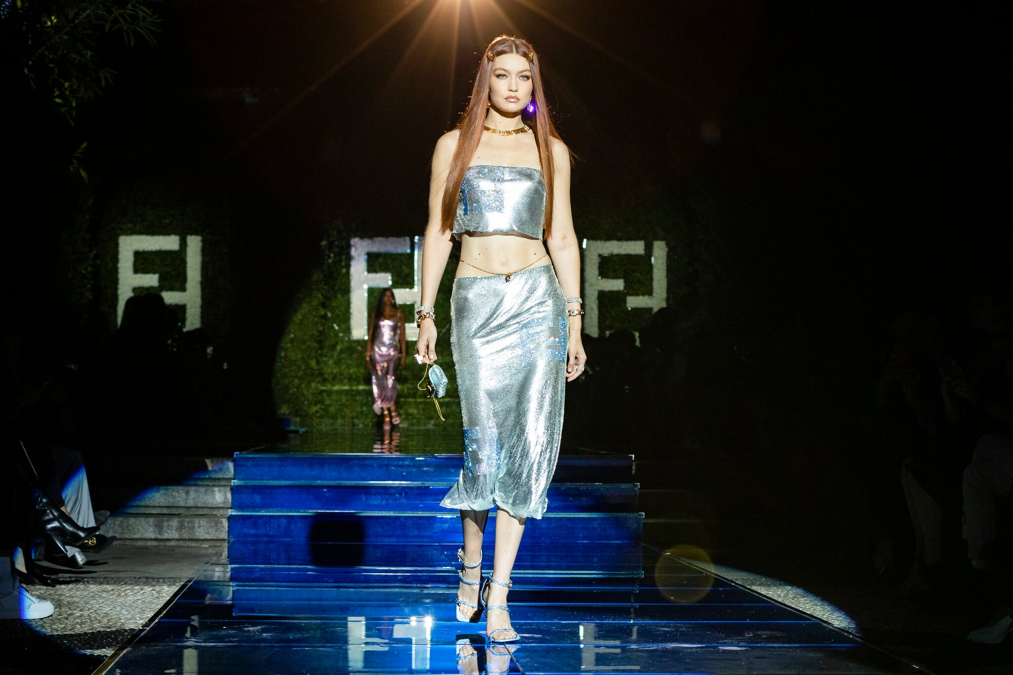 """Gigi Hadid in """"F""""-bedecked chain mail in the Fendi by Versace section of the Fendace show"""