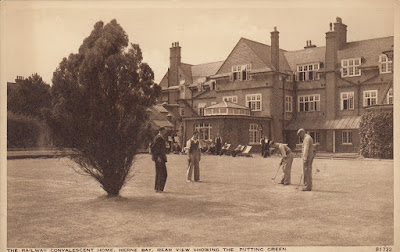 The Railway Convalescent Home. Herne Bay. Rear View Showing the Putting Green. B1732. Photochrom Co. Ltd.