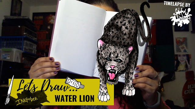 Drawing the Water Lion - Exploring Cryptids Worldwide | Inktober