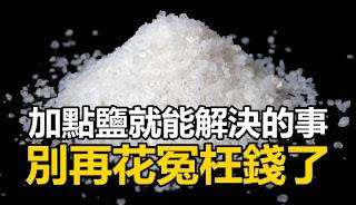鹽可是一樣好東西。很多加點鹽就能解決的事。你竟然花了那麼多冤枉錢!