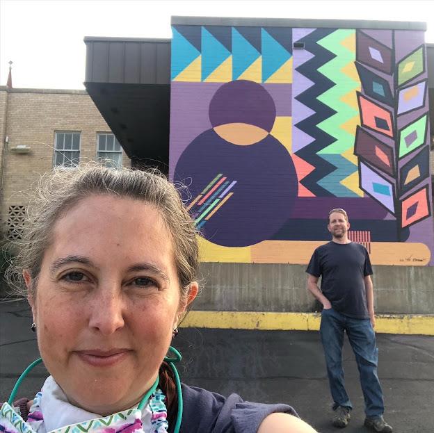 "Mural selfie fun with ""Waves of Giving"" by Jaime Brown and  Karim Jabbari."
