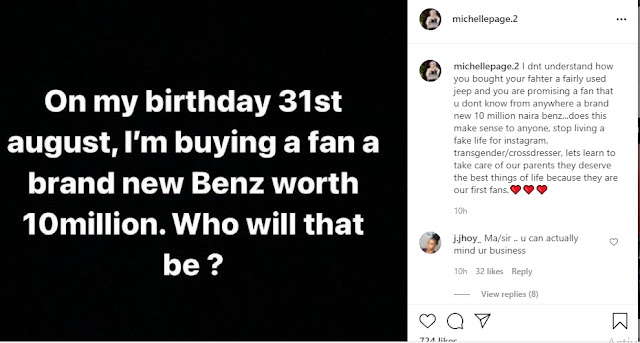 You Bought your father a Used Jeep and live Fake Life on Instagram- Crossedresser Michelle page slams Bobrisky