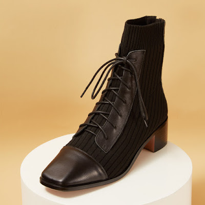 Knit & Leather Square Toe Lace-Up Back Zip Ankle Boots spring collection
